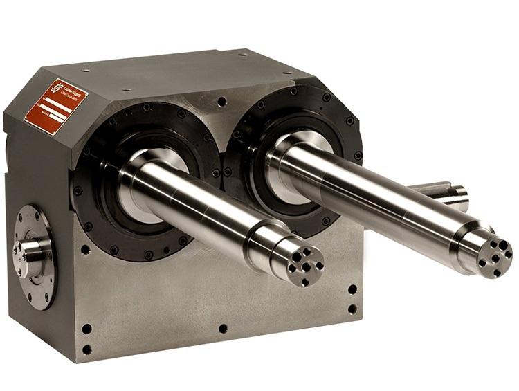 Globidkurvengetriebe mit zwei Abtriebswellen