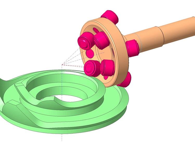 Sphärokonisches Schritt- oder Pendelgetriebe mit geneigter Wellenlage
